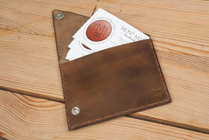 Kožený obal na vizitky, kreditky