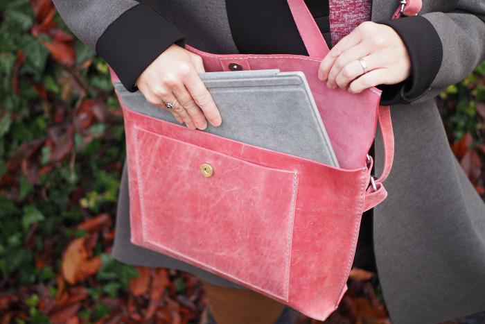 Kožená kabelka růžová